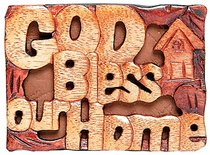 Magnet: Wood God Bless Our Home