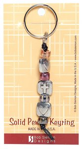 Keyring: Two Hearts One Cross (Lead-free Pewter)