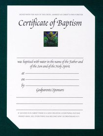 Certificate: Baptism With Green Card Folder