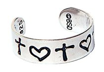 Toe Ring: Cross and Heart Sterling Silver