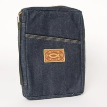 Bible Cover Blue Denim With Leather Fish Logo Extra Large