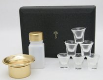 "Portable Communion Set: Last Supper Six Cups Brasstone Vinyl (Rw-29) (5 1/2"" X 7 5/8 X 1 3/4"")"