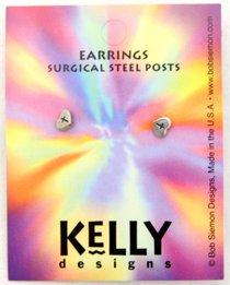 Earrings: Kelly Design: Heart With Cross (Lead-free Pewter)