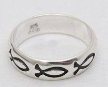 Ring: Fish Size 11 Sterling Silver