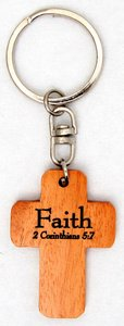 Wooden Cross Keyring: Faith 2 Corinthians 5:7