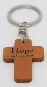 Wooden Cross Keyring: Hope Hebrews 6:19