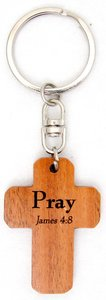 Wooden Cross Keyring: Pray James 4:8