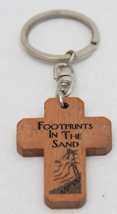 Wooden Cross Keyring: Footprints in the Sand