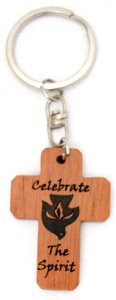 Wooden Cross Keyring: Celebrate the Spirit