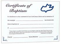 Certificate Adult Baptism: Dark Blue Dove