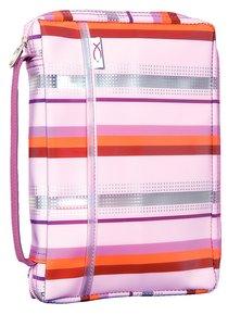 Bible Cover Pink Lavender Sassy Stripes - Large