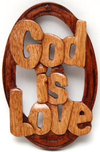 Wooden Hanger: God is Love