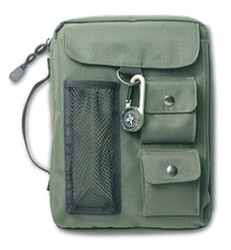 Bible Cover Green Canvas With 3 Pockets & Compass Medium