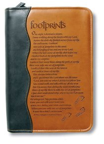 Bible Cover Footprints Duo-Tone Black/Tan Extra Large