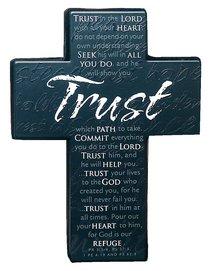 Mini Metal Message Cross: Trust Various Scriptures, Black