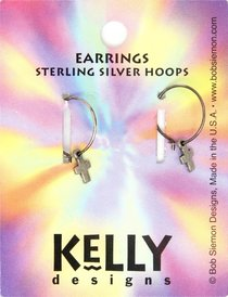 Earrings Kelly Design: Hoop Plain Cross (Lead-free Pewter)