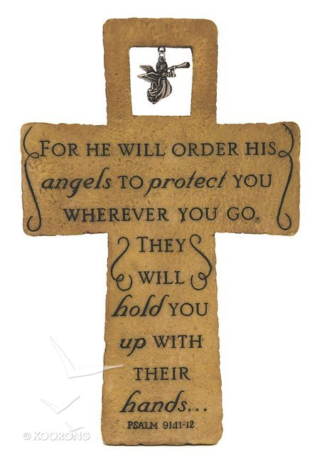 Cross With Metal Angel: For He Will Order His Angels Psalm 91:11-12