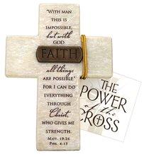 Tabletop Cross: Faith Matthew 19:26 & Philippians 4:13 (Polyresin)