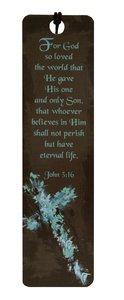 Bookmark: Witness Gear Brown With Blue Cross (John 3:16)