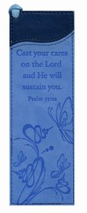 Bookmark: Psalm 55:22 Luxleather Blue