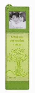 Bookmark With Photo Frame: Luxleather Green With Beaded Tassel