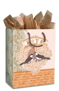 Gift Bag Large: Elegant Love Birds (Incl Tissue And Gift Tag)