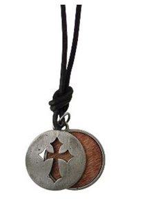 Faith Gear Necklace Cross on Wood
