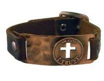 Mens Faith Gear Bracelet: God I Trust (Leather)