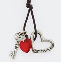 Pendant: Love Never Fails Heart and Key With Bead (Pewter)
