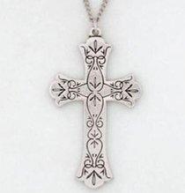 Pendant: Cross Delicate Petal (Pewter)