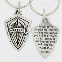 Keyring: Protect Shield (Lead-free Pewter)