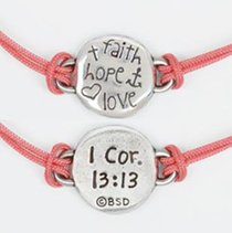 Bracelet: Faith Hope Love Adjustable (100% Lead-free Pewter)