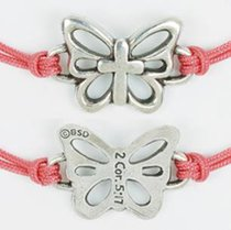 Bracelet: Butterfly With Cross Adjustable (%100 Lead Free Pewter)