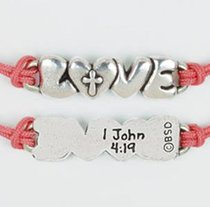 Bracelet: Love With Cross Adjustable (100% Lead-free Pewter)