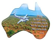 Christian Australia Map Shaped Resin Fridge Magnet: Plane/Outback/Ps 3:6