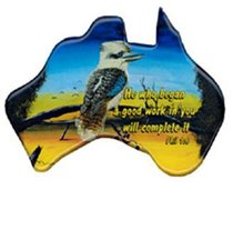 Christian Australia Map Shaped Resin Fridge Magnet: Kookaburra/Phil 1:6