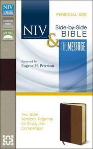 Niv/The Message Side-By-Side Bible Personal Size Black Cherry/Dark Caramel