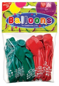 Christmas Balloons Pack of 20: Red & Green, Jesus is the Reason For the Season