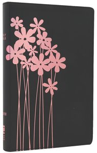 NIV Thinline Bible Flora and Fauna Forget-Me-Knots Black/Pink (Red Letter Edition)