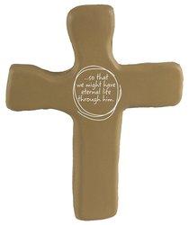 Squeezable Foam Rubber Cross: Tan, Eternal Life