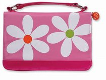 Bible Cover Daisy Pink With Zipper Pocket Microfibre Large
