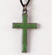 Pendant: Cross Green Enamel