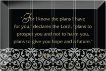 """Artisan Glass Plaque: For I Know the Plans... (4"""" X 6"""")"""