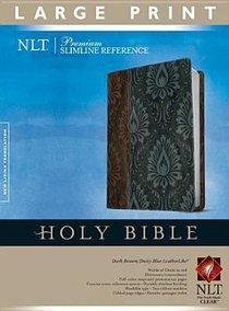 NLT Premium Slimline Reference Bible Large Print Tutone Dark Brown/Dusty Blue (Red Letter Edition)