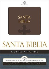 Biblia Letra Grande Brown Large Print (Red Letter Edition) (Spanish)