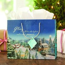 Christmas Gift Bag Large: Thomas Kinkade Church