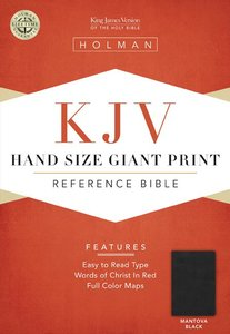 KJV Hand Size Large Print Reference Bible Mantova Black Simulated Leather (Indexed)