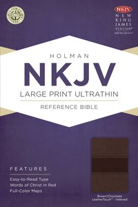 NKJV Large Print Ultrathin Reference Indexed Bible (Brown/chocolate Leathertouch)