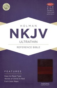 NKJV Ultrathin Reference Bible Saddle Brown Leathertouch