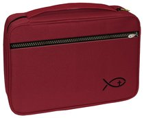 Bible Cover Deluxe With Fish Symbol: Burgundy Large